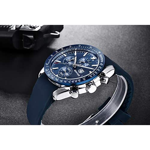 BENYAR Fashion Men's Quartz Chronograph Waterproof Watches Business Casual Sport Design Leather Band Strap Wrist Watch for Men