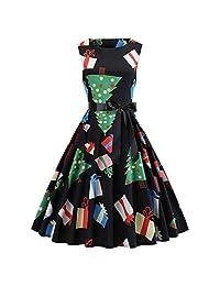 FarJing Womens Dress Fashion Vintage Sleeveless Party Belt Corset Christmas Dress