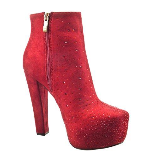 Sopily - Zapatillas de Moda Botines zapatillas de plataforma Tobillo mujer strass Talón Tacón ancho alto 13 CM - Rojo