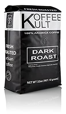 Koffee Kult Coffee Beans Dark Roasted - Highest Quality Delicious Organically Sourced Fair Trade - Whole Bean Coffee - Fresh Gourmet Aromatic Artisan Blend by Koffee Kult Corp