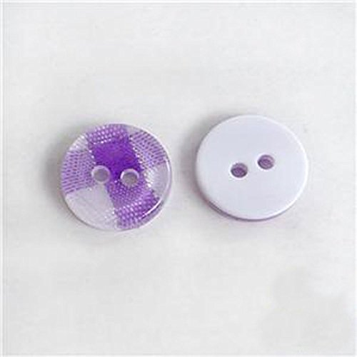 Domed Button Earrings (Purple Gingham Resin Plastic Grid Plaid Round Button Lots Ø11mm 2 Hole, 50 Pcs)