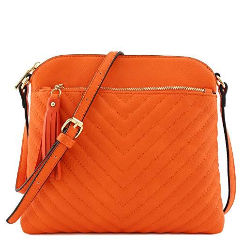 Chevron Quilted Medium Crossbody Bag with Tassel Accent (Orange)