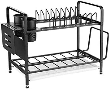 ホームキッチン棚収納食器水切りカトラリー水切りラック2段シンク食器水切り大収納カトラリーホルダー付き取り外し可能な食器棚トレイカップガラスホルダー