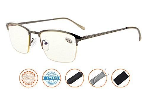 UV Protection,Reduce Eyestrain,Blue Light and Glare Blocking,Half-rim Computer Reading Glasses(Gunmetal,Amber Tinted Lenses) - To Glasses Reduce Computer Screen Glare