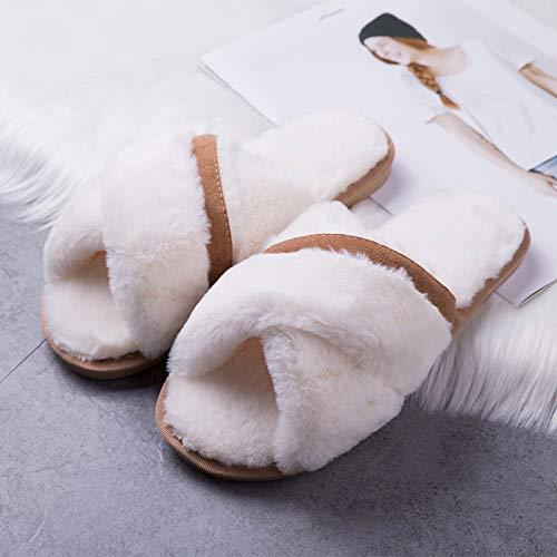 Invernali Cotone Di Da Antiscivolo Casa Dongtx Calda Ciabatte Pantofole Donna Suola Inverno Per Morbida White Scarpe qxUHv5Apn