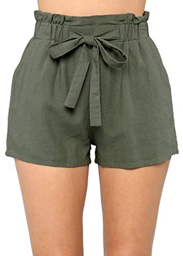 Yissang Women's Casual Loose Paper Bag Waist Shorts with Bow Tie Belt Pockets Army Green Small