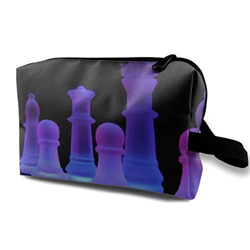 Chess Purple Light Cosmetic Bags Makeup Organizer Bag Pouch Zipper Purse Handbag Clutch Bag ()