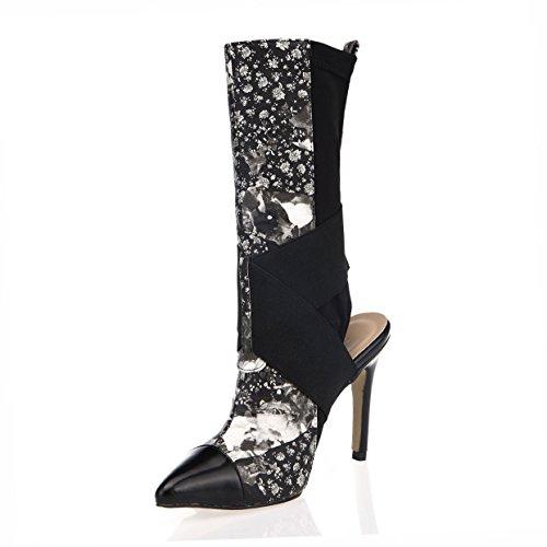 Zapatos De Mujer Botas De Otoño 9.8 CM PU Tacones Altos Slingbacks Botas De Punta Estrecha Otoño Invierno Negro,EU40