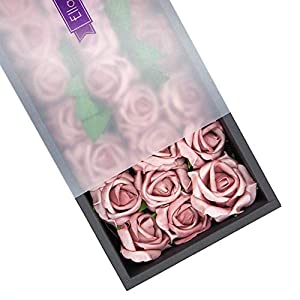 Ella Celebration Artificial Flowers, 25pcs Real Touch Foam Fake Roses Decoration DIY for Wedding Bridesmaid Bridal Bouquets Centerpieces, Party Decoration, Home Display, Office Decor 47