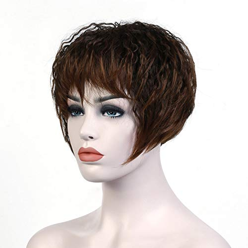 Short Brown Kinky Curly Hair Wigs Women Heat Resistant Synthetic Hairpieces African American Wigs For Women Hair,#30,6inches