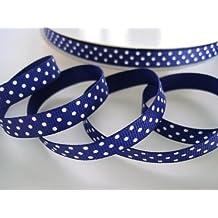 50 yards Navy blue/white Swiss Polka Dots Grosgrain 3/8 Ribbon 9mm/Craft/Supply R79-20 US Seller Ship Fast by www.embellishmentworld.com
