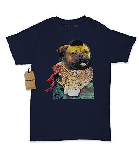 [Womens Mr T Pug T-Shirt Medium Navy Blue] (Mr T Costumes)
