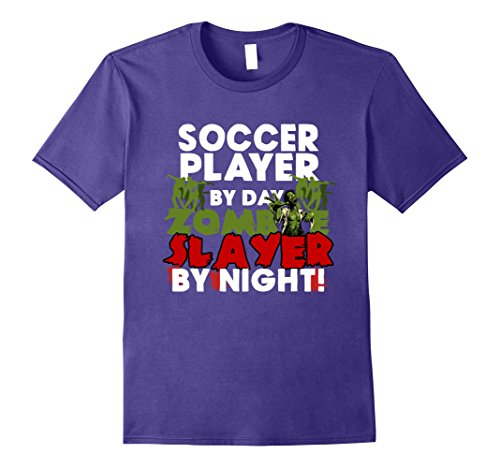Mens Funny Halloween Tee Shirts Soccer Player Zombie Slayer Shirt Large Purple