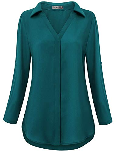 Miss Fortune Nice Shirts for Women, Chiffon Summer Blouses Turn Down Collar V Petite Ladys Tops Gorgeous Drapey Work Wear Professional 80s Slimming 3/4 Cuffed Sleeve Tunics for Leggings S Dark Cyan