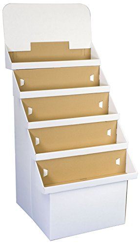 Displays2go Free-Standing Display Rack Corrugated Cardboard Construction with 5 Bins, White