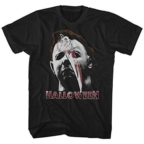 American Classics Halloween Movies Mask & Knife Adult Short Sleeve T Shirt -