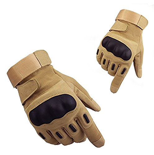 Brush Racing Motor (Tactical Gloves, Fuyuanda Men`s Full Finger Hard Knuckle Protective Gear Gloves for Motorcycle Shooting Riding Cycling Biking Paintball Racing Tan X-Large)