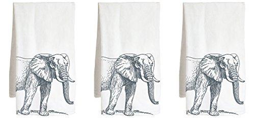 Live Nice Elephant Illustration Three Pack - Retro - Farm Flour Sack Kitchen Tea Towel ()