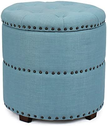 Adeco Fabric Button Tufted Round Storage Bench Ottoman