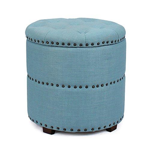 Adeco Eruo Style Fabric Bench Ottoman Chair Footstool, Wood Legs, lid Storage, Nailhead Trim, Cylindar