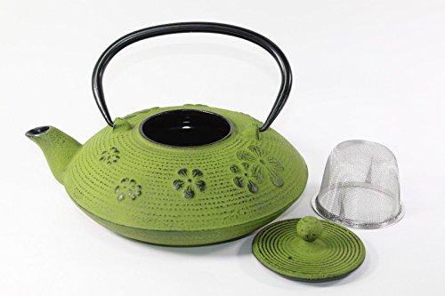 Japanese Antique 24 Fl Oz Green Sakura Flower Cast Iron Teapot Tetsubin with Infuser