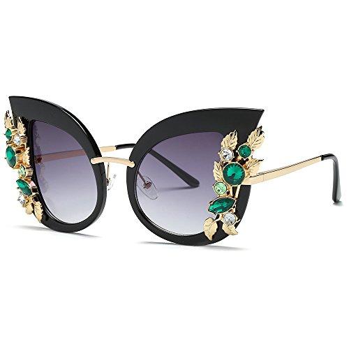 JJLIKER Women Diamond Cat Eye Polarized Protection Sunglasses Metal Frame Classic Gradient Goggles Outdoor ()