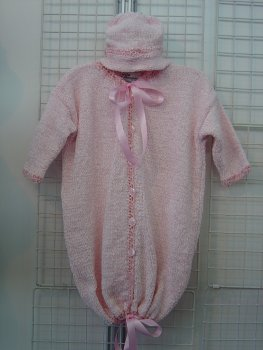 Bt1, Baby Pink Chenille Baby Bunting Sweater, Hat Set ()