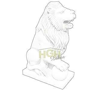 Gran Figura de león sentado con bola Derecho XL antigüedad piedra Animales Jardín Park majestätisch