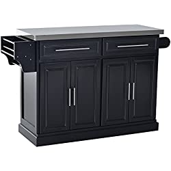 HOMCOM Modern Rolling Kitchen Island Storage Cart w/Stainless Steel Top - Black