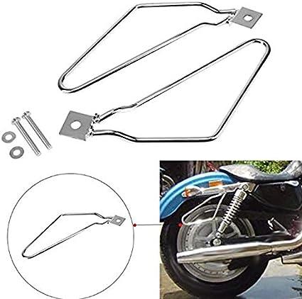 AYUN 1 Set Silber Motorrad Halterung Halterung Motorrad Satteltasche St/ützstange mit Schrauben Silber