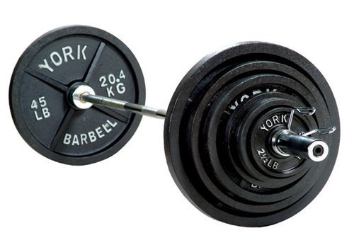 York Barbell 2'' 300 lb Olympic Weight Set with A-Frame Tree Plate and Barbell Support