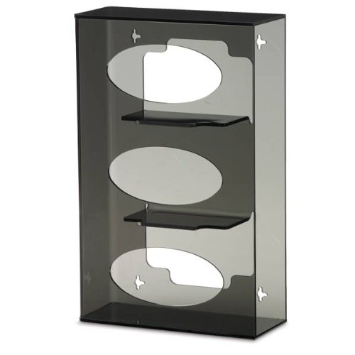 Triple Side-Loading Glove Box Dispenser Holder, Dark Grey Acrylic