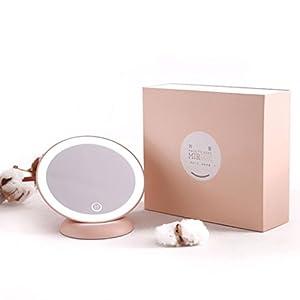 Rambly Magnifying Mirror LED Makeup Mirror Wall Mount 360 Rotating Bathroom (Pink)