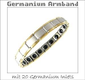Pulsera de germanio - con 20 Germanio Entradas - piedra germanio Ge32 - bicolor: Plata y Oro - 24kt parte / chapado en oro - Pulsera TITAN Ion menos con muchos depósitos de germanio - mate y acabado pulido - 100% de níquel libre de alérgenos - Pulsera de energía y de iones de equilibrio - millones de las personas están impresionados por la comodidad calmante de pulsera de germanio. - El germanio es un elemento químico menos conocida. Es un oligoelemento semi-metálico que fue descubierto por el científico alemán Clemens Winkler en 1886. Germanio se atribuye a un efecto estimulante, se encuentra en muchas plantas medicinales, por ejemplo, en el ginseng y el ajo. - Cada pulsera viene en una caja de regalo! - Germanio: acelerar la circulación sanguínea, reducir la fatiga! - Ion negativo: alentar sistema nervioso, mejora la función del miocardio - Gran idea para un regalo !!!