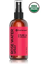 ORGANIC ROSE WATER SPRAY 100% Pure & Natural Facial Toner with Uplifting Floral Scent. A few sprays & your face feels amazingly fresh with tender smell of roses