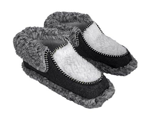 Auténtica para hombre zapatillas de fieltro con forro de pares)–caliente y Comfy gris/blanco