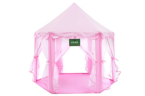 Play Kreative Pink Princess CASTLE GAZEBO TENT with carry Case. Girls Pink Fairy Playhouse with Mesh Siding, Stars Lighting for indoor/outdoor Kids Playtime Activities – Lovely Birthday Gift for Her
