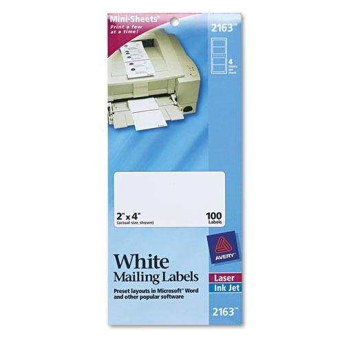 Avery 2163 Mini-Sheets Shipping Labels, 2 x 4, White, ()