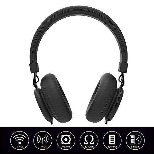 (Renewed) Ant Audio Treble 900 On -Ear HD Bluetooth Headphones with Mic (Carbon Black)