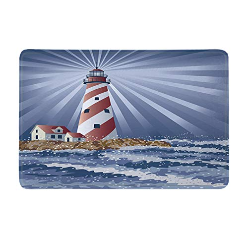 LB Dawn Sea Island Lighthouse Bathroom Mat Beacon Phare Pharos Decoration Stylish Bathroom Rugs Dark Blue Gray Red White Chimney Bath Mat Soft Memory Foam Non-Slip Absorbent 16x24 Inch