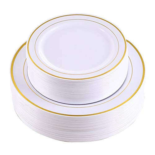 Gold Rim Dinner Plates 60 Pieces,Disposable Plastic Plates,Heavyweight Wedding Party Plates Includes:30 Dinner plates 10.25 Inch and 30 Salad Plates 7.5 -