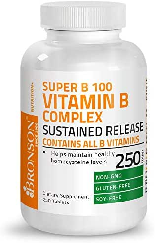 Bronson Vitamin B 100 Complex High Potency Sustained Release (Vitamin B1, B2, B3, B6, B9 - Folic Acid, B12), 250 Tablets