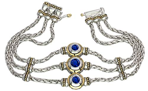 John Medeiros Silver and Gold Tone 3 Strand Bracelet with 3 Round Sapphire Colored Cubic Zirconia Fancy Clasp September Birthstone and Part of The Beijos Collection 7