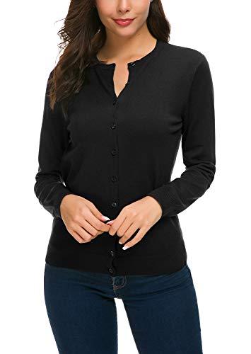 Women's Long Sleeve Button Down Knit Sweater Cardigan (M, Black)
