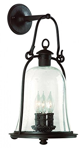 Natural Bronze Mill - Troy Lighting Owings Mill 3-Light Outdoor Wall Lantern - Natural Bronze Finish with Clear Seeded Glass