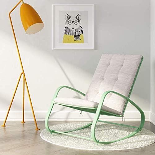 HLJ Silla basculante de Acero Silla Silla de sillón reclinable Nap la Almuerzo Perezoso Moderno Minimalista Patio al Aire Libre Mecedora Acolchada