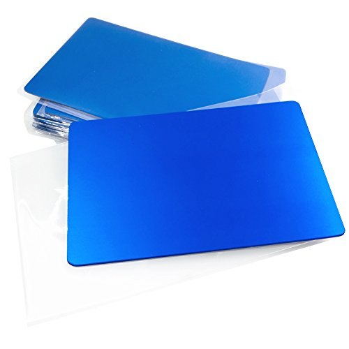 Ebamaz Metal Business Cards Anodized Aluminum Plaque Plate 86X54X0.8mm (Blue, Blank,10PCS)