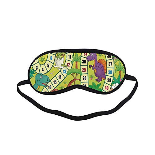 Board Game Fashion Black Printed Sleep Mask,Cute Dinosaurs Jungle Numeral Wavy Line Prehistoric Fauna Wildlife Composition Decorative for Bedroom,7.1