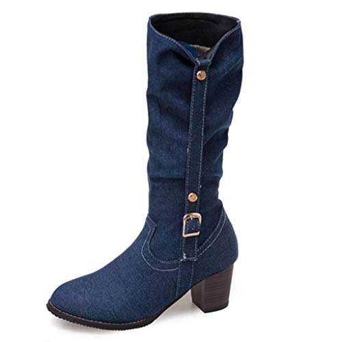 Cenglings Womens Mid-Calf Boots, Ladies Round Toe Denim Boots Platform Over The Knee High Chunky Heel Knight ()