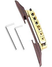 Guitar Bridge, Base Bridge Rosewood with Roller for 6 String LP SG Jazz Guitar(Gold)